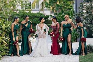 2021 боковой сплит длинные зеленые подружки невесты платья сексуальные свадебные платья для вечеринки Разница декольте Maxi юбка вечернее платье