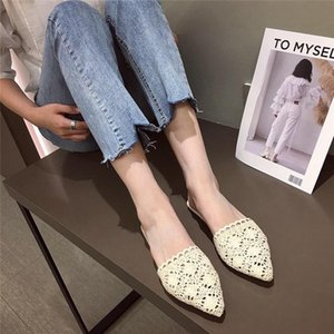 Pointed Toe Slippers Soft Flat Shoes Female Slides Slipers Women Lace Comfort Cover 2021 Scandals Sexy PU Rubber Fabric Basic