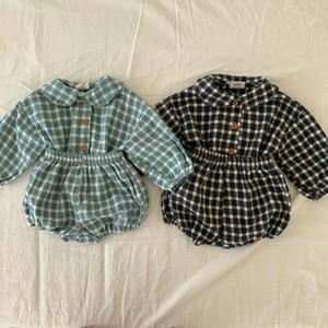 ميلانسل ملابس الطفل منقوشة كم كاملة قميص و bloomer 2 قطع الفتيان الملابس الأزياء طفل الفتيات مجموعة 210309