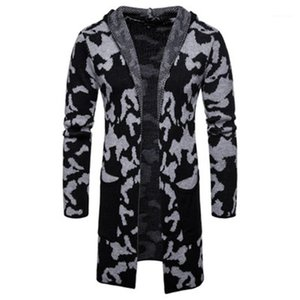 Blends Coats Fashion Trend Cardigan Lapel Knitting Sweaters Coats Designer Male Winter New Casual Slim Hooded Outerwear Mens Camouflage Wool