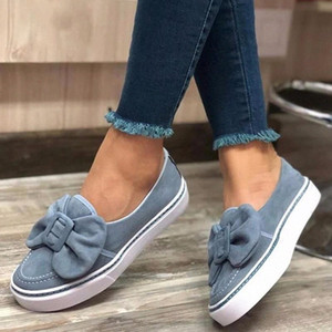 Woman Bow Flats Ladies Slip On Walking Shoes Womens Flock Loafers Sneakers Casual Female Women New Fashion 2020 c8xt#