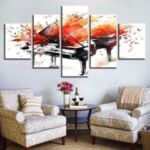 Картины фортепиано всплеск живописи музыки 5 панелей холст печать настенные искусства плакат дома украшения HD фотографии декор нет оформленных