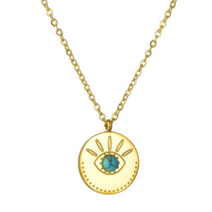 Vintage Turquoise Necklaces Gold Plated Geometry Round Eyes Pendant Necklace for Elegant Women Girls Fashion Jewelry