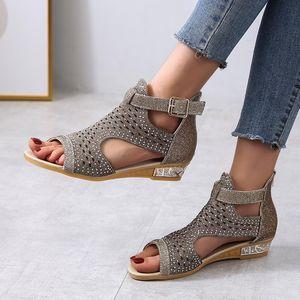 2021 Gladiator Womans Sandals Women's Crystal Shoes Women Comofort Wedges Platform Female Fashion Zip Footwear Zapatos De Mujer