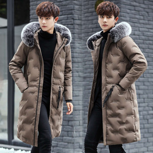 parkaOff season men's mid long autumn and winter down youth cotton padded jacket