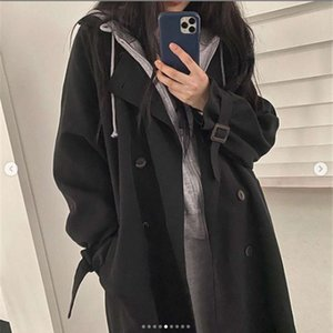Autumn and winter Korean 2021 new tooling style loose knee length overcoat popular long sleeve trench coat women's wear