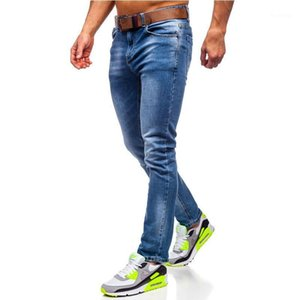 Spring and Autumn New men cotton mid-waist zipper placket straight casual jeans men blue slim-fit micro-elastic denim trousers1