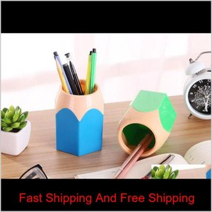 Cute Pop Creative Pen Holder Vase Color Pencil Box Makeup Brush Stationery Desk Accessories Gift S qylmUl pthome