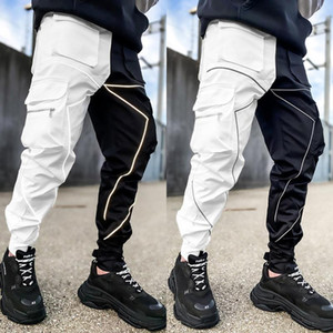 Men's Reflective Night Running Sport Pants Side Pockets Cargo Harem Pants Joggers Trousers Fashion Casual newest