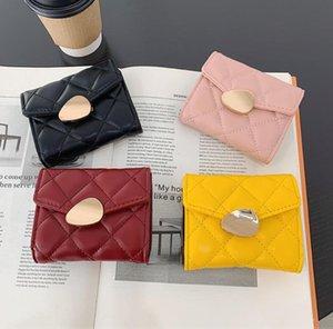 Lattice Women Cute Pink Wallets Pocket Purse Card Holder Mini Wallet Lady Female Fashion Short Coin Burse Money Bag
