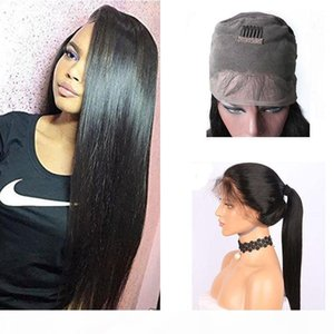 Brazilian 360 Full Lace Frontal Human Hair Wigs With Baby Hair Pre Plucked 150 Density Straight 360 Lace Frontal Wig For Black Women
