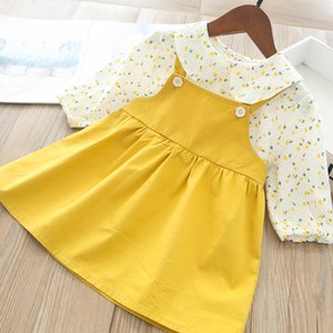 Girls Outfits Baby Clothing Toddler Suits Floral Long Sleeve Tops Blouses Shirts Suspenders Dresses 2Pcs Kids Clothing 1-5Y B3888