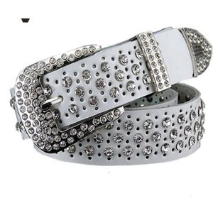 Fashion Rhinestone Genuine Leather Belts for Women Pin Buckle Belt Woman Quality Second Layer Cow Strap Width 3.3 Cm