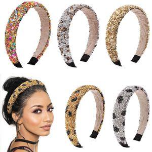 Natural Retro Hair Hoop Healing Crystal Stone Headband Sponge Leopard Print Woman Fashion Hair Band Accessories