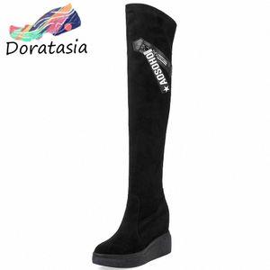 Doratasia New Big Size 32 40 Fashion Thigh High Stivali Altezza crescente piattaforma scarpe donna sexy partito sopra gli stivali del ginocchio escursionismo boo x0tr #