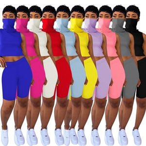 Women Summer 2 Two Piece Tracksuits Sleeveless Vest With Face Mask Bodycon Biker Shorts Casual Sports Outfits Set Jogging Sportswear Clothes
