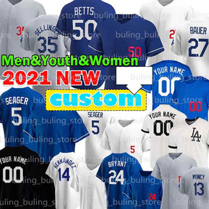 27 trevor Bauer 5 Corey Seeger 50 Mookie Betts Baseball Jersey Julio Urias Walker Bühler Cody Bellinger Los Justin Turner Custom Angeles