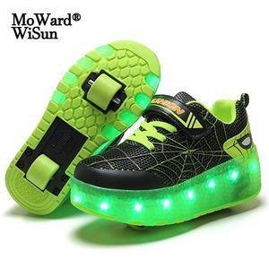 Tamaño 28-40 Kids Brillo Ruedas LED Zapatos para niños Zapatos de patinaje luminoso con luces Zapatos para niños cargados USB sobre ruedas 210312