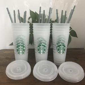10pcs 24 oz vasos de plástico Jugo de consumición de plástico con labio y mágica de paja Taza de café Costom Starbucks Taza transparente plástica 10Free Shipping