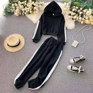 Hot trency new hot trency new ladies loose and comfortable 2-piece pullover + pants ladies sports suit sportswear
