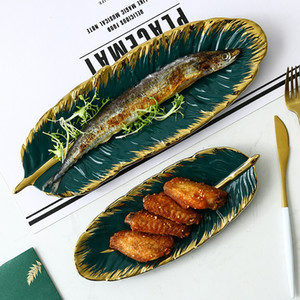 Green Banana Leaf Shape Ceramic Plate Gold Porcelain Charger ppetizer Dessert Jewelry Plate Dish Dinnerware Sushi Tableware