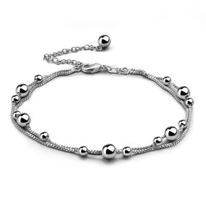 100% 925 Sterling Silver bell Ankle Bracelet Beach On Leg Foot Jewelry Boho Charm Simple Anklets for Women Jewelry Gift F1219