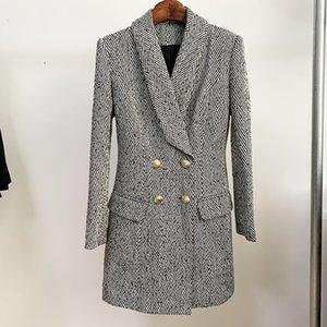 Premium Top Quality Original Design Women's Double-Breasted Woolen Long Coat Herringbone Overcoat Metal Buckle Jacket Shawl Collar Blazer
