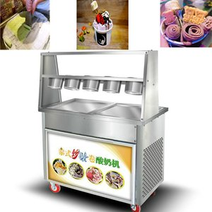 High Quality Two Pan Fried Ice Cream Machine With Five Small Bowls Saving Time And Effort