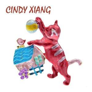 Cindy Xiang Enamel Jouer à Ball Cat Mignon Chat Kitty Pin Broches Pour Femme Enfants Dessin animé Bijoux Mode 2 Couleurs Choisissez