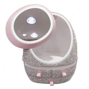 Роскошные стразы Большой макияж Организатор со светодиодным зеркалом Bling пыленепроницаемая щетка для подсветки косметики коробки для хранения ящики Box