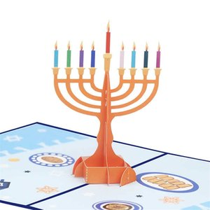 Pop Up Happy Hanukkah Cards Chanukah Menorah Greeting Card Celebrating Jewish Festival of Light Gift Rainbow Color Candle Holder Party Ornament L805WK