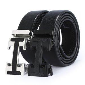 2020 modelos de marca de marca de cuero automático de la capa superior de los hombres puros pantalones de negocios en forma de hebilla de cinturón en forma de H