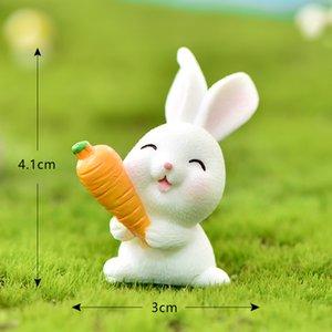 Lindo conejo Pascua Miniatura Resina Craft Mini Bunny Ornament Fairy Garden Supplies Hogar Figurine Animal Garden Ornament CCF5161