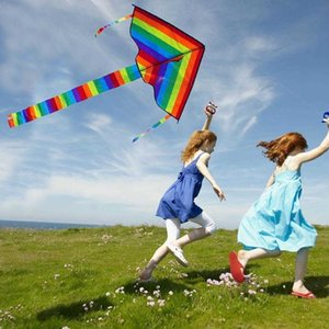 Large Colorful Rainbow Long Tail Nylon 30m Surf Kids Toys Flying Kid With Kites Outdoor Line For Children I3E5