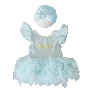 Clothing Sets 2 Pcs Set Cute Baby Girls Outfit Bow Hat Dress Set Pography Props Outfits Infant Lace Sweet Princess Born A2UB
