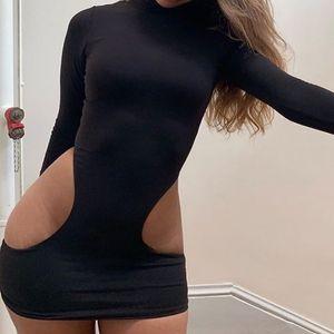 GAKE SOMMER SAIRY MUHN OUT WALLEN TURTLECK Langarm Neongrün Wrap Mini Bodycon Kleid Vestidos