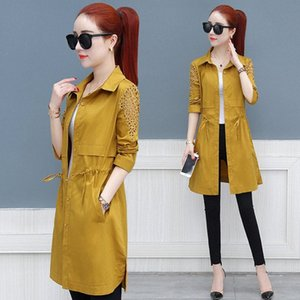 Spring Trench Coat Women Clothes New Loose Single Breasted Thin Coat Medium-Long Windbreaker Slim-fit openwork Female Tops J180 1243#