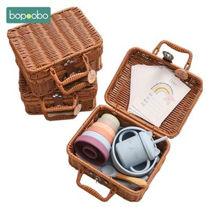 Bopoobo Baby Feeding Tableware Box Set Gifts Silicone Rainbow Stacker Toy Birth Vintage 210913