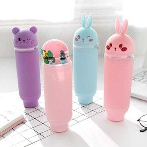 اللوازم المدرسية قابل للسحب لطيف الأرنب الدب حقيبة القلم اللون سعة كبيرة طالب حقيبة القرطاسية متعددة الألوان مريحة وعملية