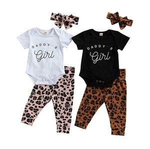 Emmababy 2021 Primavera 0-18M Baby Girl 3pcs Set Papi Funda corta Letra de la letra Body + Pantalones de leopardo + Diadema 2 Colores Conjuntos de ropa