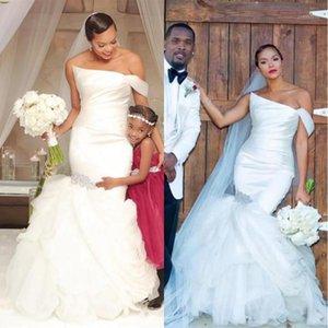 Other Wedding Dresses White Sleeveless Applique Wrap Lace Mermaid Bridal Dress Customized Tulle Satin Halter Back Horn1