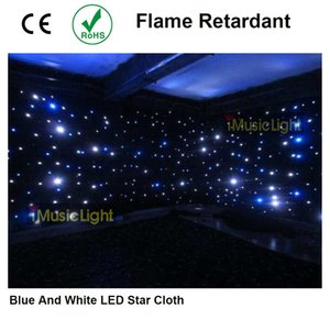 5 pieces 16ft by 20ft DMX led star cloth blue+white Stage backdrop with 4 controllers