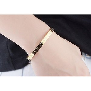 Bangles Cuff Crystal Roman Numerals Gold Color Women Party Jewelry & Stainless Steel Bracelets 7NI0 WC16