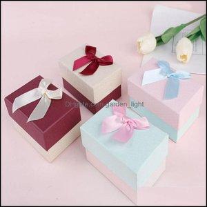 Wrap Event Festliche Partei Supplies Home GARDEngift Boxen mit Ribbon Bowknot Schmuck Ohrringe Halsketten Lip Box Ins Geschenk Verpackungskoffer PPB