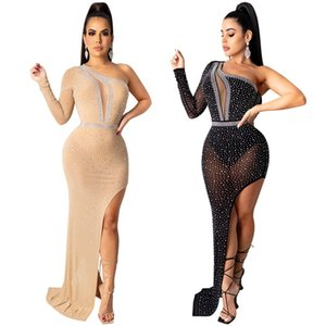 Night club maxi dresses Gauze skirts Skinny sexy gown Party clothes Perspective revealing skirt Hot drilling S-2XL Black Apricot 4442
