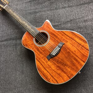 solid top 12 strings KOA 24 acoustic electric guitar Rosewood fretboard and Fishman presys blend onboard pickup eq 12-string cutaway guitare