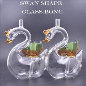 Cartoon swan animal Hookahs 10mm Female Mini Glass Oil Rigs Bongs Water Pipes with 10mm oil bowl and silicone straw