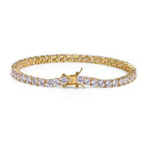 Роскошные 3mm5mm CZ Cr Crystal Tennis Braclets Hip Hop Cleig out out Gold Silvery Color Chare мужской браслет для женщин мужчин свадебные украшения 210323