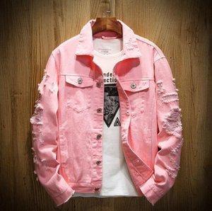 Luxus Designer Männer Hohe Qualität Riss Löcher Denim Jacke Herren Cowboy Mantel Frauen Tops Schwarz Rot Jean Jacken Größe M-5XL