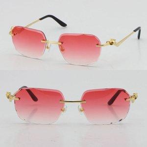 2021 Мода RIMLELS Мода Леопардовый Серия Золото 18 К Солнцезащитные очки Металлические Очки Высококачественные Дизайнер UV400 3.0 Толщина Бесконечные Алмазные Очки Линза Очки